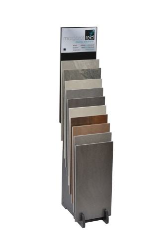 Steep Tiered 10 Slot Narrow Display Stand With Graphics Board