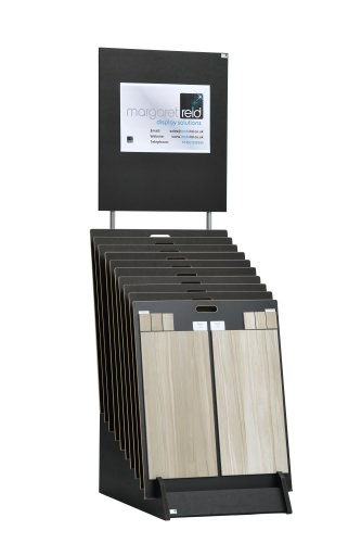 Tiered 10 Slot Open Wide Display Stand With Graphic Panel