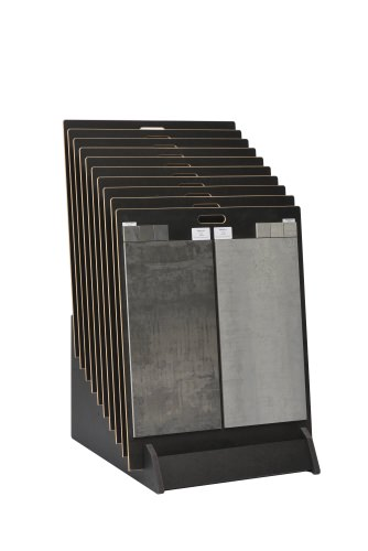 Tiered 10 Slot Wide Open Display Stand With Tiled Boards