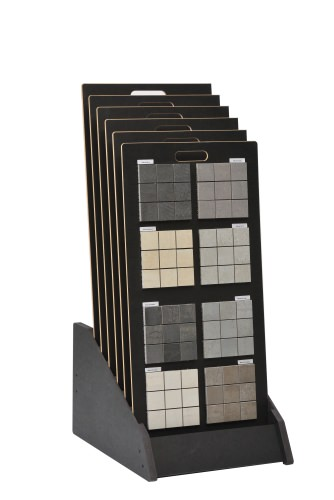 Tiered 6 Slot Closed Display Stand With Tiled Boards